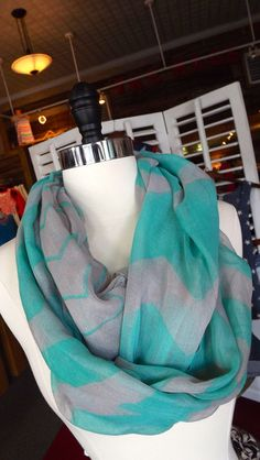 Chevron & Gray Infinity Scarf scarv