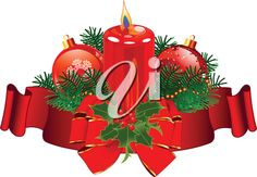 iCLIPART - Royalty Free Clipart Image of a Pillar Candle With Ribbon, Greenery and Ornaments