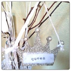 Glittered crown ornamental with pearls and hand made cuteness