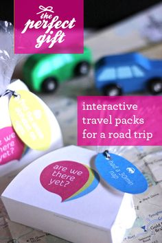 Interactive travel packs for a road trip with kids  {Polkadot Prints} scavenger hunts, road trips, box, road trip activities, travel pack, travel snacks, print, kid, car trips
