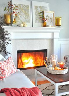 living rooms, fireplace mantles, parti 2012, fall mantels, interior inspir