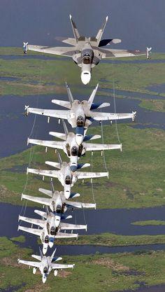"STRANGE ""STACK"" OF 8 - FA-18 SUPER HORNETS"