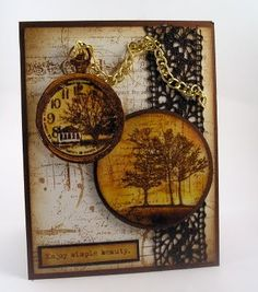 Adore the inclusion of real, hefty chain on this strikingly beautiful pocket watch adorned greeting card.