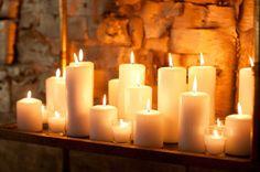 decor, candlelight glow, light mantel, perfect candl, lots of candles, candl candlestick, ideal dream, pillar candles, candl light