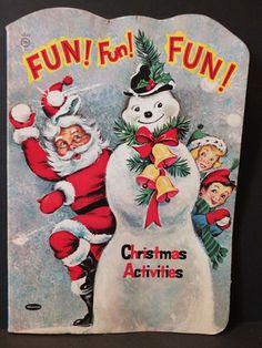 Vintage 1958 Whitman Christmas Coloring Book - Santa Fun Activites - Biers