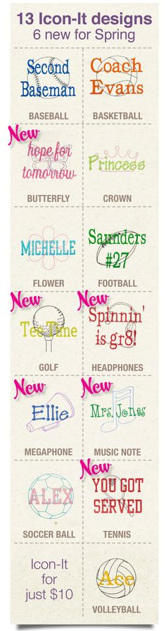 New Icon-It Options For Spring Thirty-One Gifts 2013: Golf, butterfly, music note, headphones, Cheer megaphone, & tennis. Mythirtyone.com/lesleyerwin