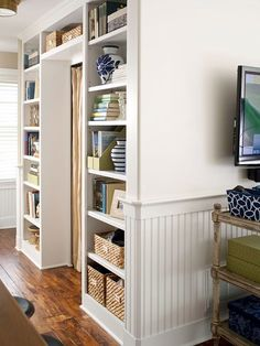built-in storage around a door ༺༻ Crown Molding Adds Character to your Rooms.  www.IrvineHomeBlog.com Contact me for any Questions about the Real Estate Market & Schools around #Irvine, California. Christina Khandan Your Lease Specialist #RealEstate #Home