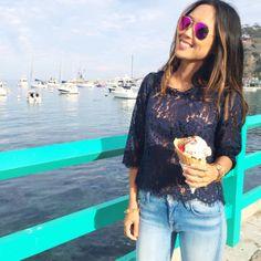 @AimeeSong enjoying ice cream at #CatalinaIsland #DreamingInBlue