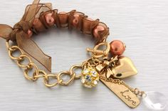 Copper Faux Pearl Gold Chain Ribbon Heart Bow Word Love Charms Stretch Bracelet