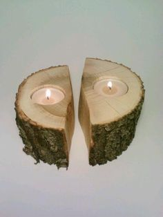 Log Tealight Candle Holder Split log by DeerwoodCreekGifts on Etsy, $20.00