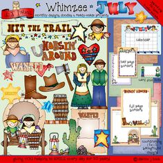 Get ready to 'hit the trail' with our 'July' collection! 30 darlin' little clip art designs for the 'old west,' including pioneers, cowboys, stars, a covered wagon, sayings & MORE.