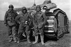 Char B1 tank No 350  The crew of the French Char B1 tank No. 350 named Fleurie.    In the Centre of Sergeant-Chef Jacques Dumay killed in June 15, 1940 at Montsuzain.  Adutant Levasseur was killed in June 12, 1940 at Murmelon .  #worldwar2 #tanks