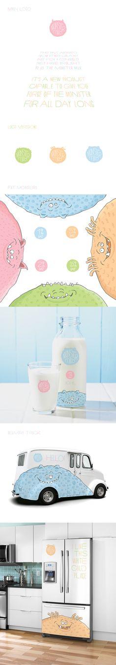 Monster Milk by Pavel Emelyanov, via Behance the whole Monster Milk #packaging #branding story PD