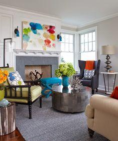 House of Turquoise: Rachel Reider Interiors - eclectic blue, orange & green living room