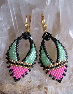 Russian Beading Patterns Free   Beadwork Russian Leaf Earrings Pink/Green by pattimacs on Etsy