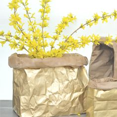 Make your own metallic sack using a brown paper bag & spray paint! Paint it any color & use for picnics, organizing, party favors, or gifts!