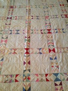 ANTIQUE VINTAGE HANDMADE JACOBS LADDER CUTTER QUILT TRIANGLES PINK 68 x 80, eBay, slicvic58