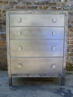 Norman Bel Geddes Metal Dresser $1675 - Chicago http://furnishly.com/industrial-norman-bel-geddes-metal-dresser.html