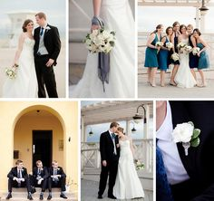 Blue and white wedding inspiration board.