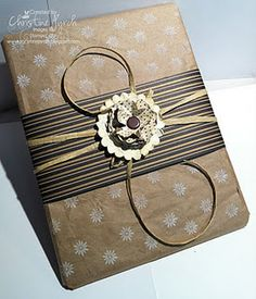 Reuse and Recycle your Kraft Shipping Paper from your Stampin' Up! box to create this beautiful gift.