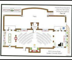 Set up for Fireside Room Ceremony- 100 Guests.  Location: Boettcher Mansion