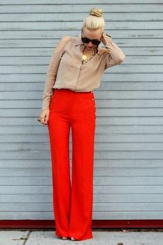 How chic are these red wide-leg pants?!  brooklyn blonde