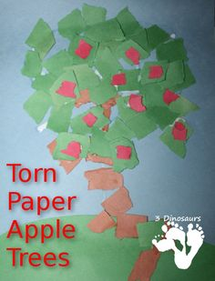 Life Cycle of an Apple Tree – Torn Paper Apple Trees | 3 Dinosaurs