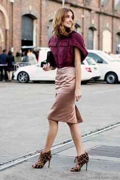 Pair a silk pencil skirt with a feminine top and heels // #Fashion #StreetStyle