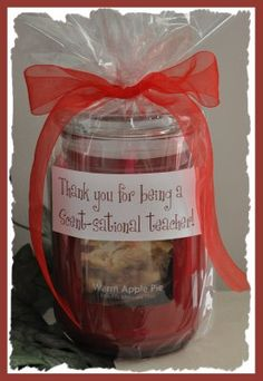 "Wrap a scented candle in cellophane and tie it with a ribbon. Then print the saying, ""Thank you for being a Scent-sational teacher!"" and attach it to the cellophane with double sided tape."