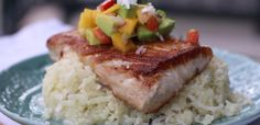 #paleomg #paleo Pan Seared Mahi Mahi over Coconut Cauliflower Rice with Mango Salsa mango salsa, mahi mahi