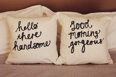His and Hers Cushion Covers #masterbedroom #pillows anniversary, beds, gift ideas, cushion covers, cushions, master bedrooms, pillow covers, diy pillows, wedding gifts