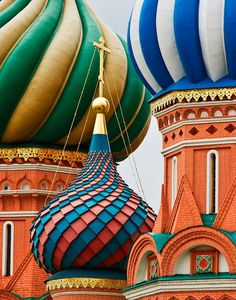 A close-up of St. Basil's Cathedral, Moscow. Legend has it that Tsar Ivan IV ('the Terrible') blinded the architect so the cathedral could not be built elsewhere.