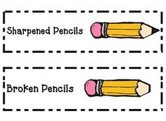 school, organ label, pencil labels, writing centers, blog