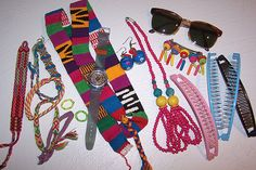 Stuff from the 80s - Swatch watch, banana clips, friendship bracelets