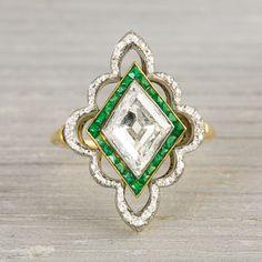 Platinum on Gold Edwardian Diamond & Emerald Engagement Ring
