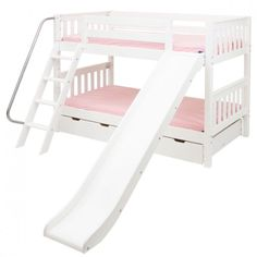 Maxtrix Kids Full Size Low Bunk Bed w. Angle Ladder and Slide at BunkbedsAtoZ.com