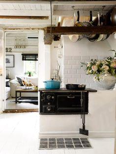 stove, white walls, cozy kitchen, cabin kitchens, rustic kitchens, pot rack, dens, cottage kitchens, painting kitchen cabinets