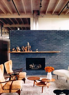 navy blue brick fireplace