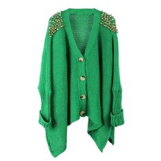 Green Loose Rivets Cardigan ($41) ❤ liked on Polyvore