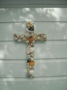 Colorful Seashell Wooden Cross/ Wedding Cross by MyHoneypickles on Etsy