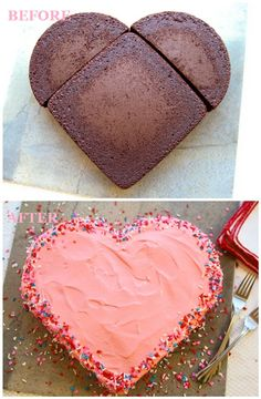 Make a Heart Shaped Cake without a Heart Cake Pan! 25 Scrumptious Valentine's Day Desserts | Between Naps on the Porch Valentine Day, Heart Shaped Cake, Shaped Cakes, Valentines Desserts, Valentines Day Desserts, Shape Cake, Cake Pans, Cake Shapes, Heart Cakes