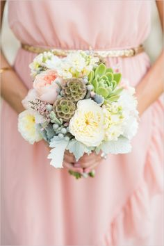 pastel bridesmaid bouquet #bouquet #succulents #weddingchicks http://www.weddingchicks.com/2014/03/03/majestic-alberta-mountain-wedding/