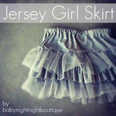 beauti skirt, kids clothes, jersey girl, chiffon ruffl, kids fashion, night night, girl skirt, babi night, sewing tutorials