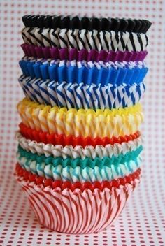 Rainbow Pack of Solids and Stripes Cupcake Liners by CupcakeSocial, $5.05
