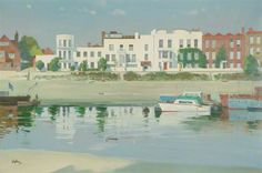 Low Water, Strand-on-the-Green, painted 1975 Aubrey Sykes