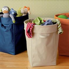 Navy laundry basket