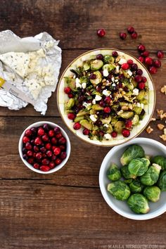 Maple Roasted Brussels Sprouts with Walnuts, Blue Cheese and Cranberries