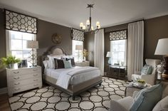 HGTV Smart Home in Nashville Master Bedroom - love the neutral colors and the graphic window treatments!