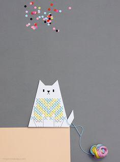 Free Printable Cat Cross Stitch Card