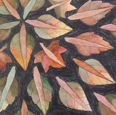 "4th grade students traced leaves in a radial design pattern, added crayon in the background, and created a ""changing leaf"" effect with watercolor using 3 colors on each side of every leaf."